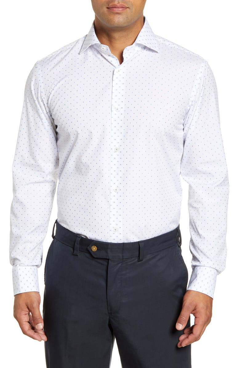 BUGATCHI Trim Fit Micro Print Dress Shirt, Main, color, CLASSIC BLUE