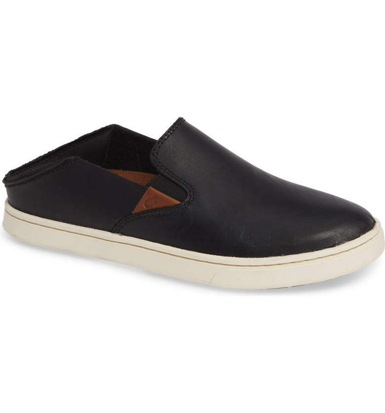 OLUKAI Pehuea Slip-On Sneaker, Main, color, BLACK/ BLACK LEATHER