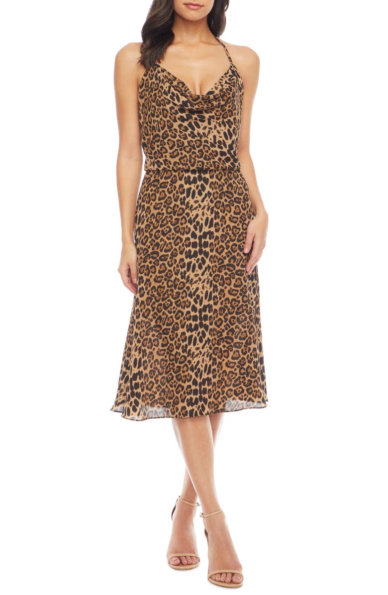 DRESS THE POPULATION Zherra Leopard Print Cowl Neck Halter Dress, Main, color, TAUPE LEOPARD MULTI