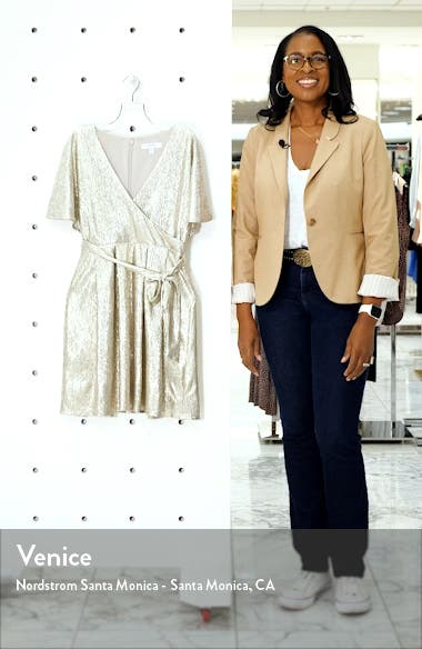 Metallic Short Sleeve Faux Wrap Dress, sales video thumbnail