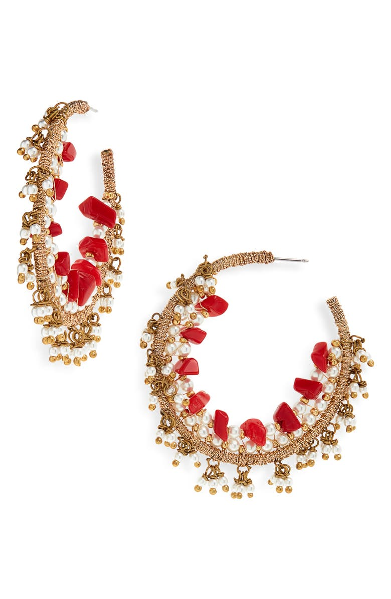 OSCAR DE LA RENTA Triple Beaded Hoop Earrings, Main, color, GOLD