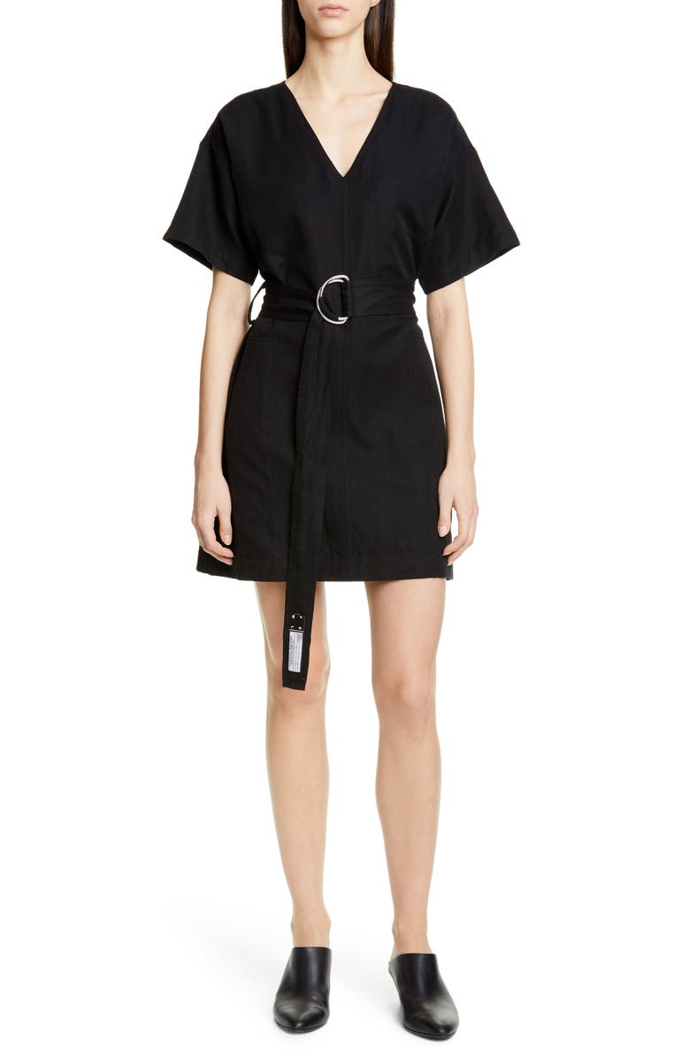 PROENZA SCHOULER WHITE LABEL Proenza Schouler PSWL Belted A-Line Minidress, Main, color, BLACK