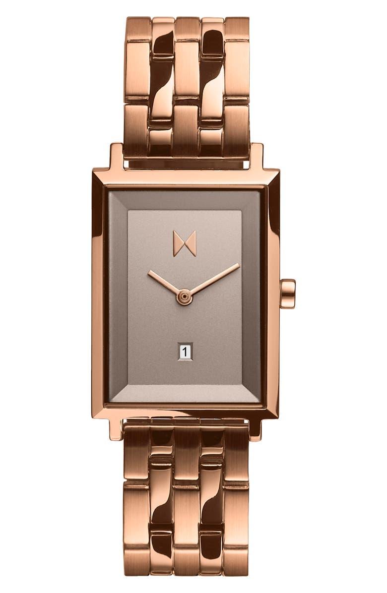 MVMT Signature Square Bracelet Watch, 24mm, Main, color, ROSE GOLD/ TAUPE/ ROSE GOLD