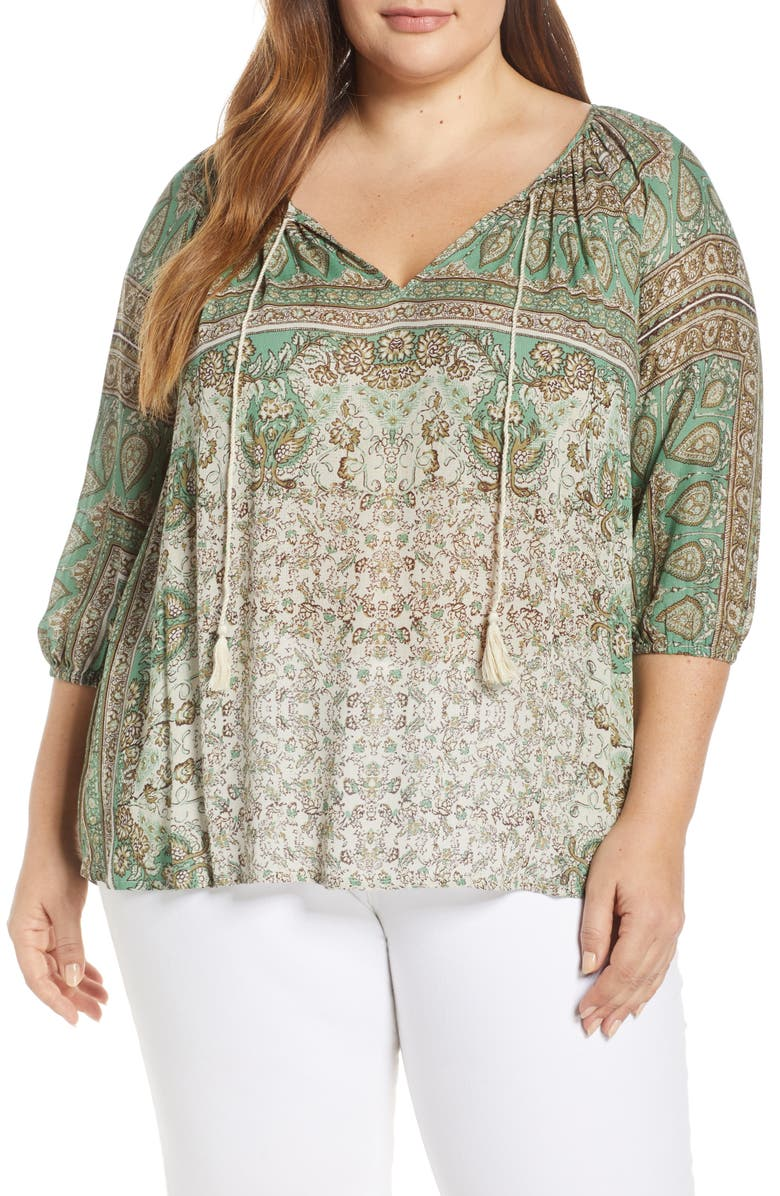 LUCKY BRAND Kelly Print Peasant Top, Main, color, 340