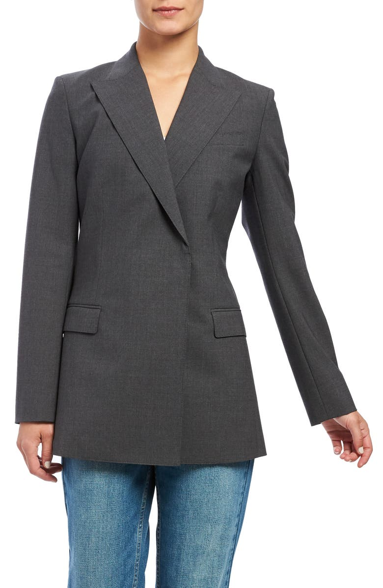 THEORY Buttonless Double-Breasted Stretch Good Wool Blazer, Main, color, CHAR MAL