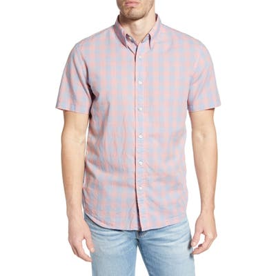 Faherty Movement Regular Fit Stretch Check Short Sleeve Button-Down Shirt, Blue