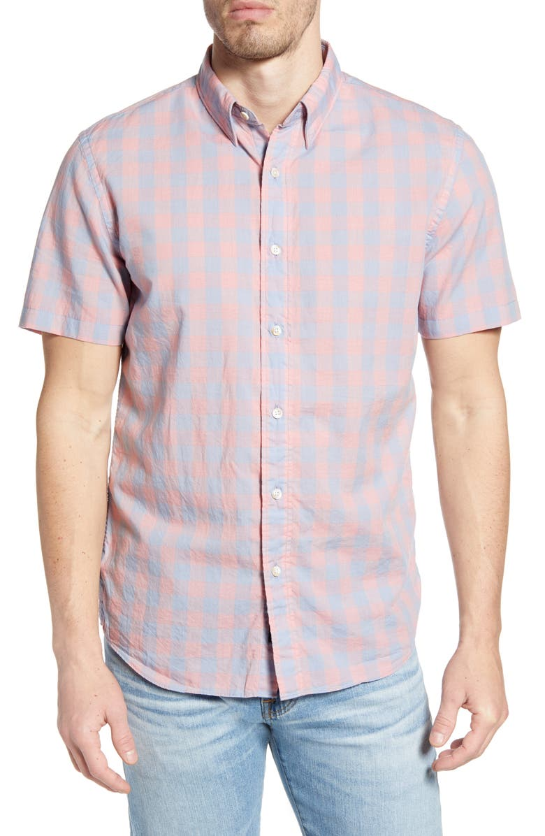 FAHERTY Movement Regular Fit Stretch Check Short Sleeve Button-Down Shirt, Main, color, BLUE/ ROSE CHECK