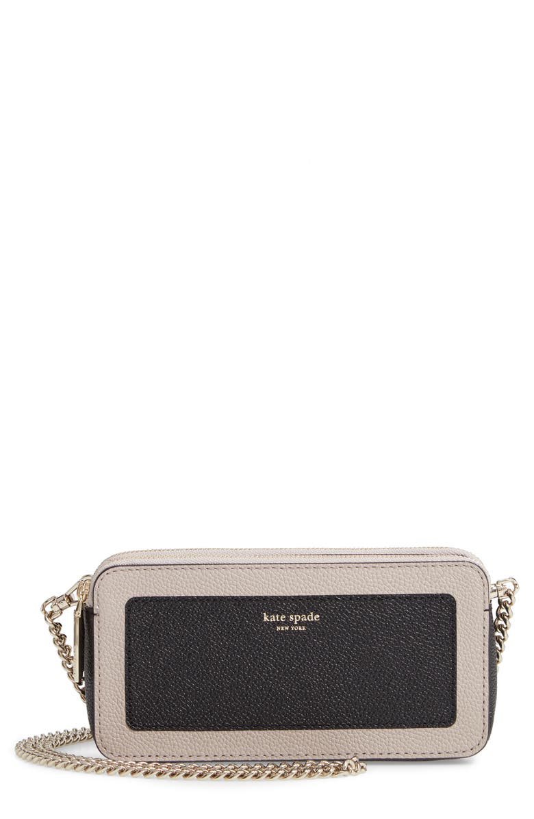 KATE SPADE NEW YORK margaux - double zip mini crossbody bag, Main, color, BLACK/ WARM TAUPE