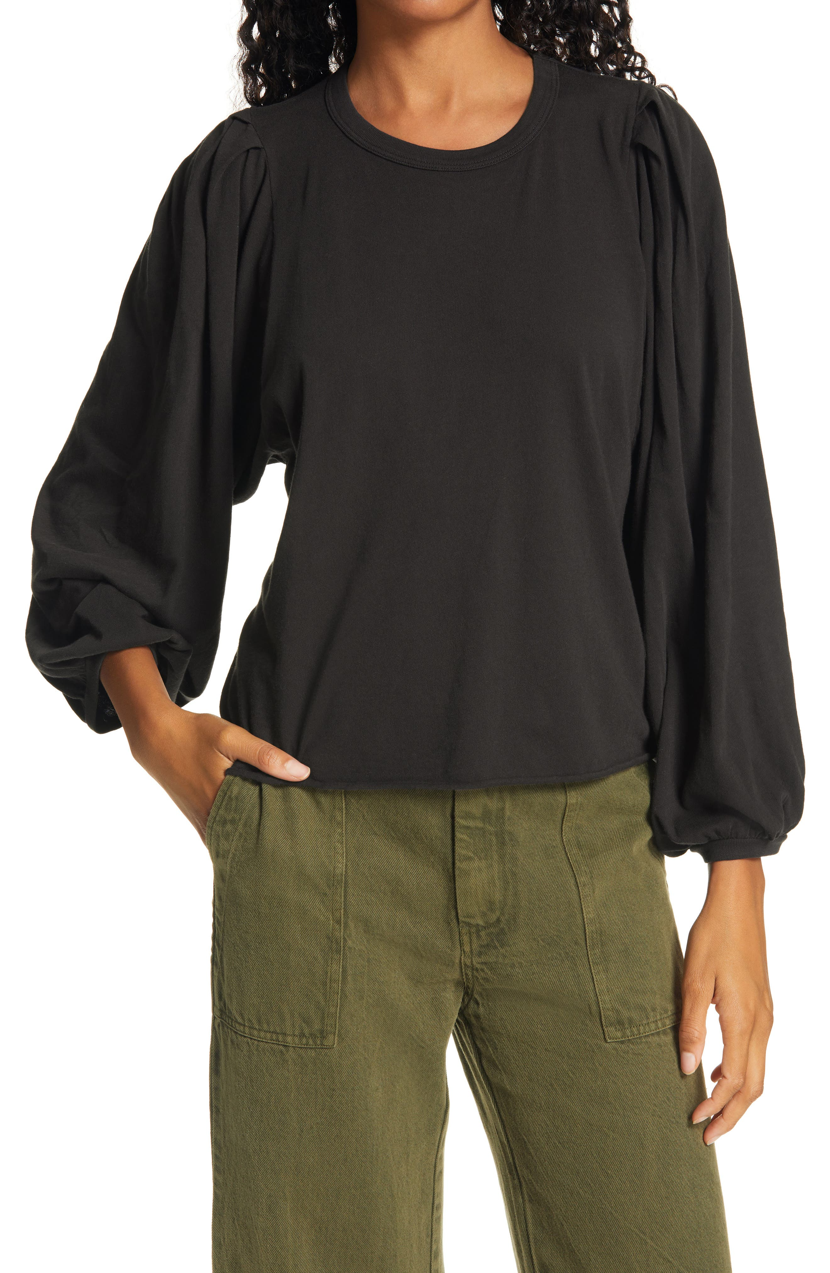 THE GREAT. The Pleat Sleeve T-Shirt | Nordstrom