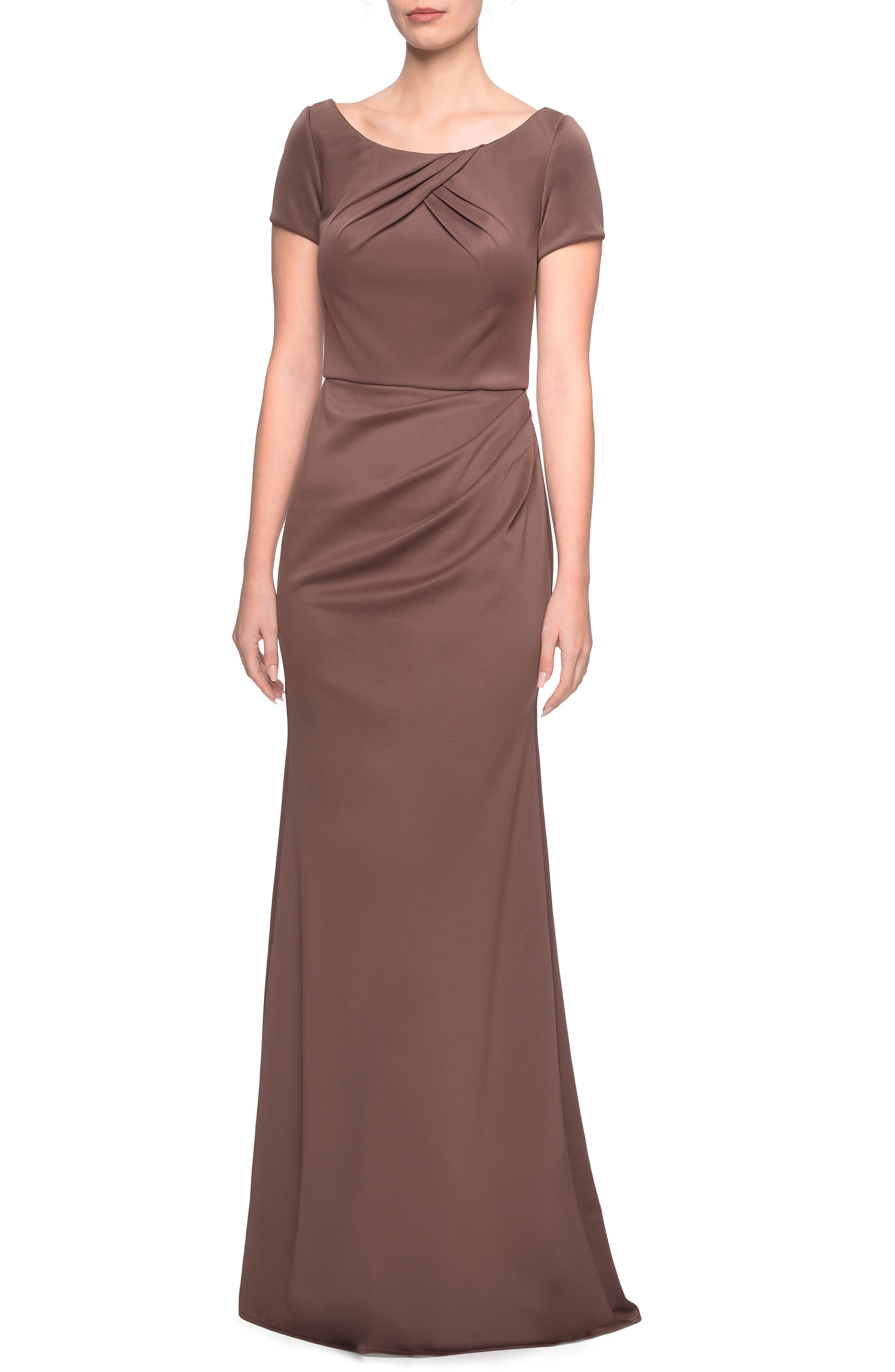 La Femme Ruched Detail Soft Jersey Evening Dress, Brown