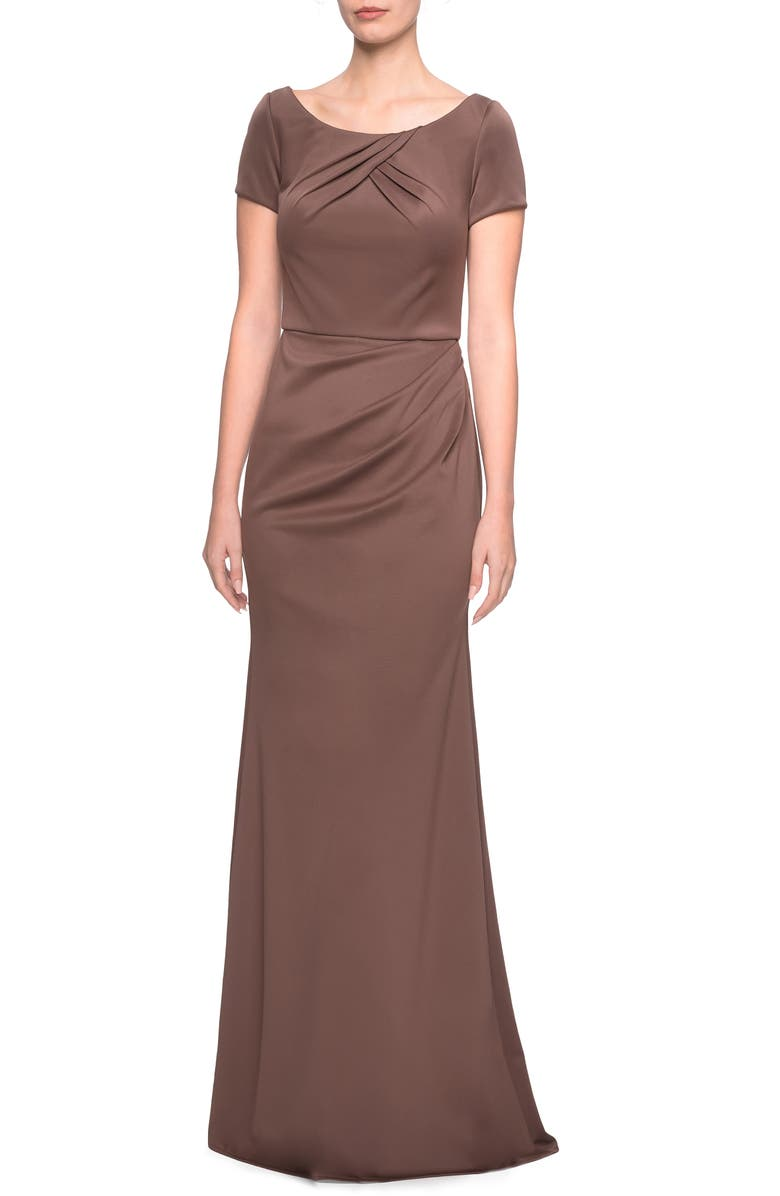 LA FEMME Ruched Detail Soft Jersey Evening Dress, Main, color, COCOA