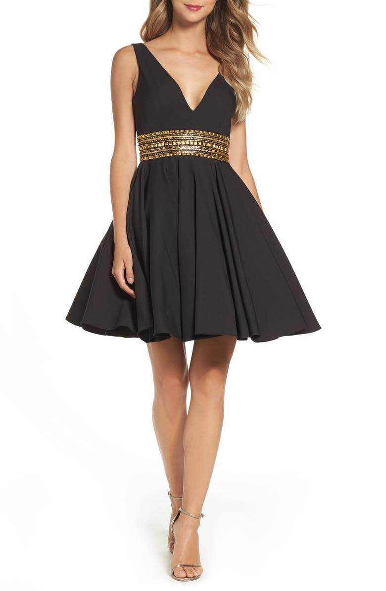 IEENA FOR MAC DUGGAL Embellished Fit & Flare Dress, Main, color, 001
