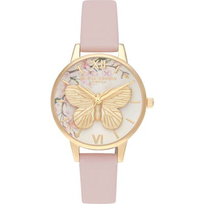 Olivia Burton Pretty Blossom Faux Leather Strap Watch, 30Mm