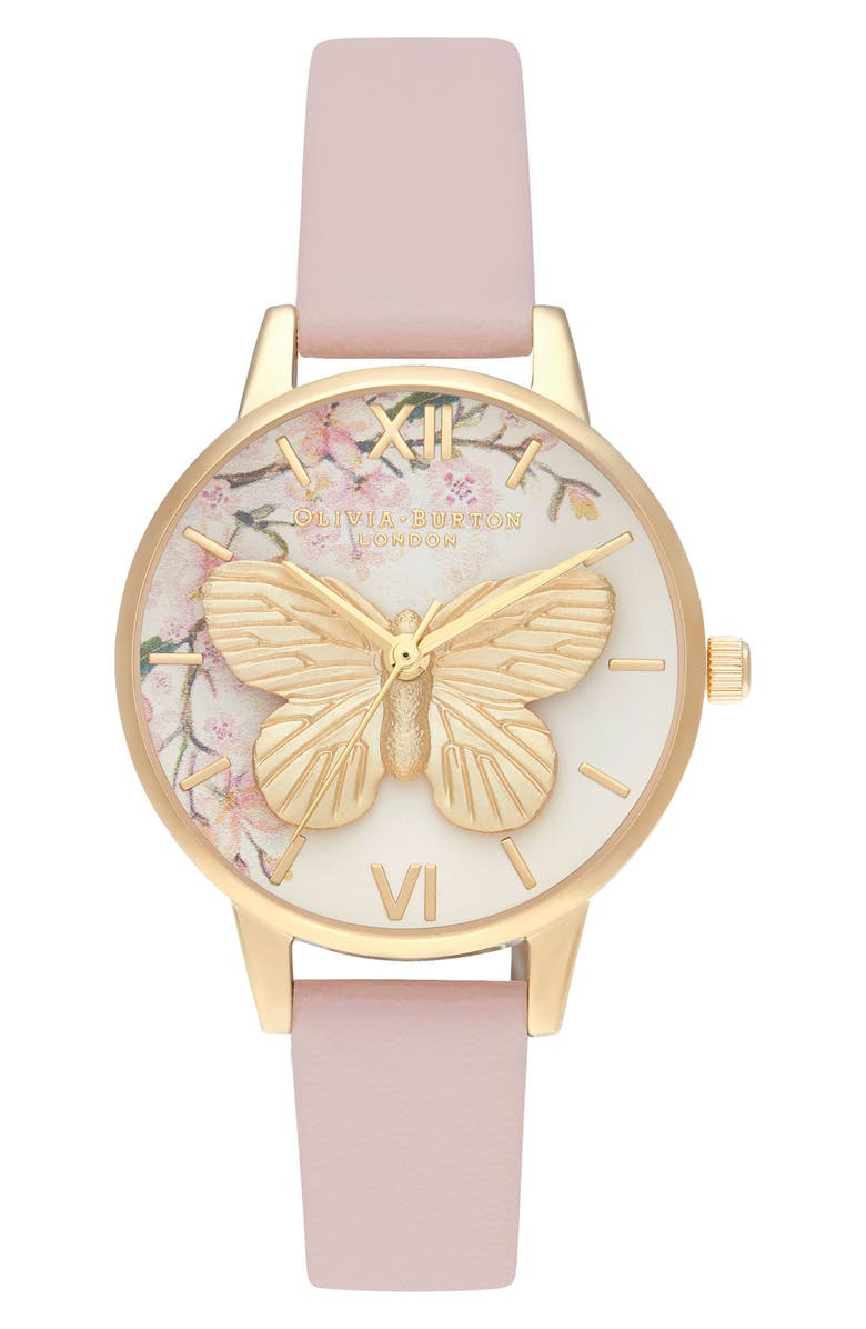 OLIVIA BURTON Pretty Blossom Faux Leather Strap Watch, 30mm, Main, color, ROSE SAND/ 3D FLORAL/ GOLD
