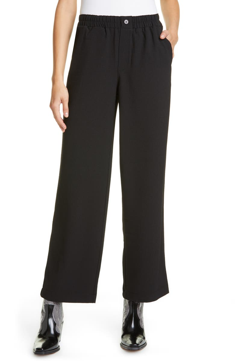 GANNI Crepe Wide Leg Pants, Main, color, BLACK