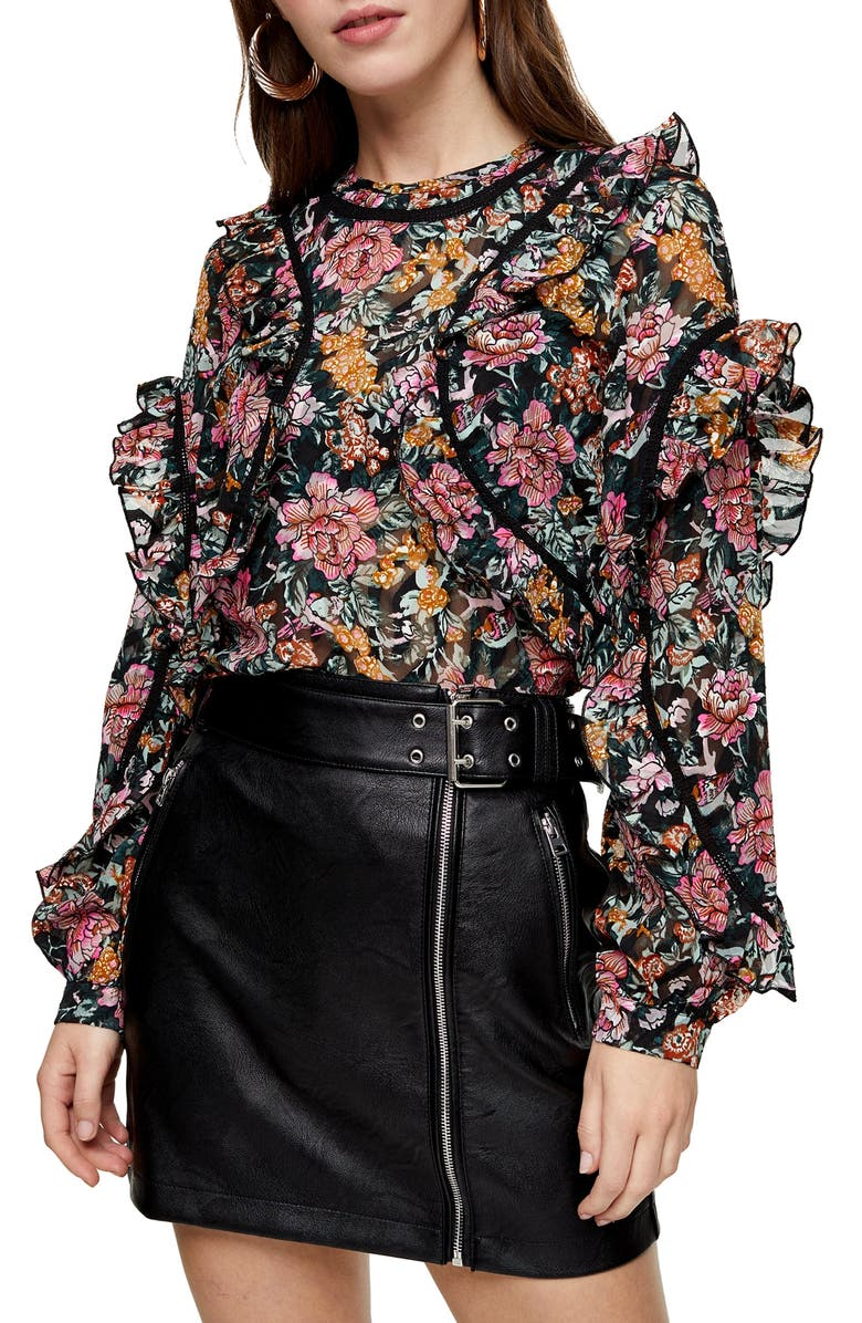 TOPSHOP Floral Ruffle Blouse, Main, color, BLACK MULTI