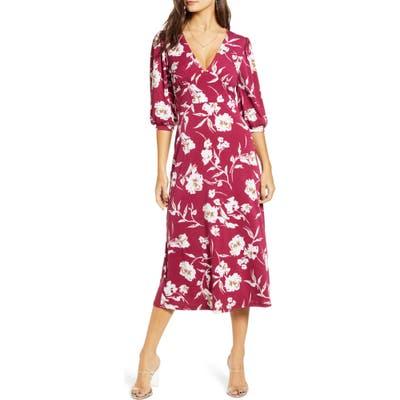 All In Favor Print Blouson Sleeve Midi Dress, Purple