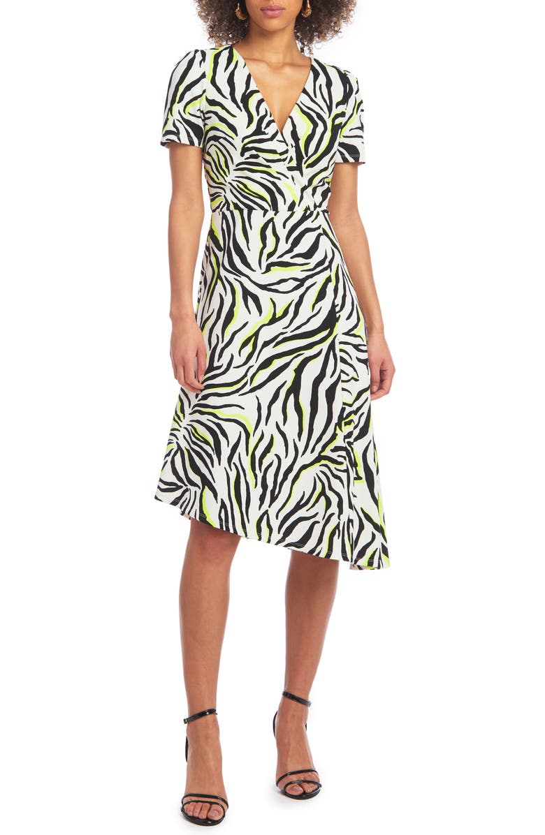 CHRISTIAN SIRIANO Zebra Print Asymmetrical Hem Dress, Main, color, EGGSHELL COMBO