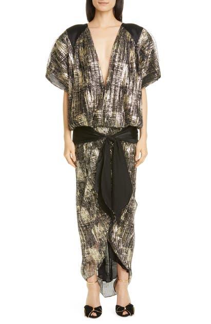 Rodarte METALLIC PLISSE PLEAT DROP WAIST MAXI DRESS