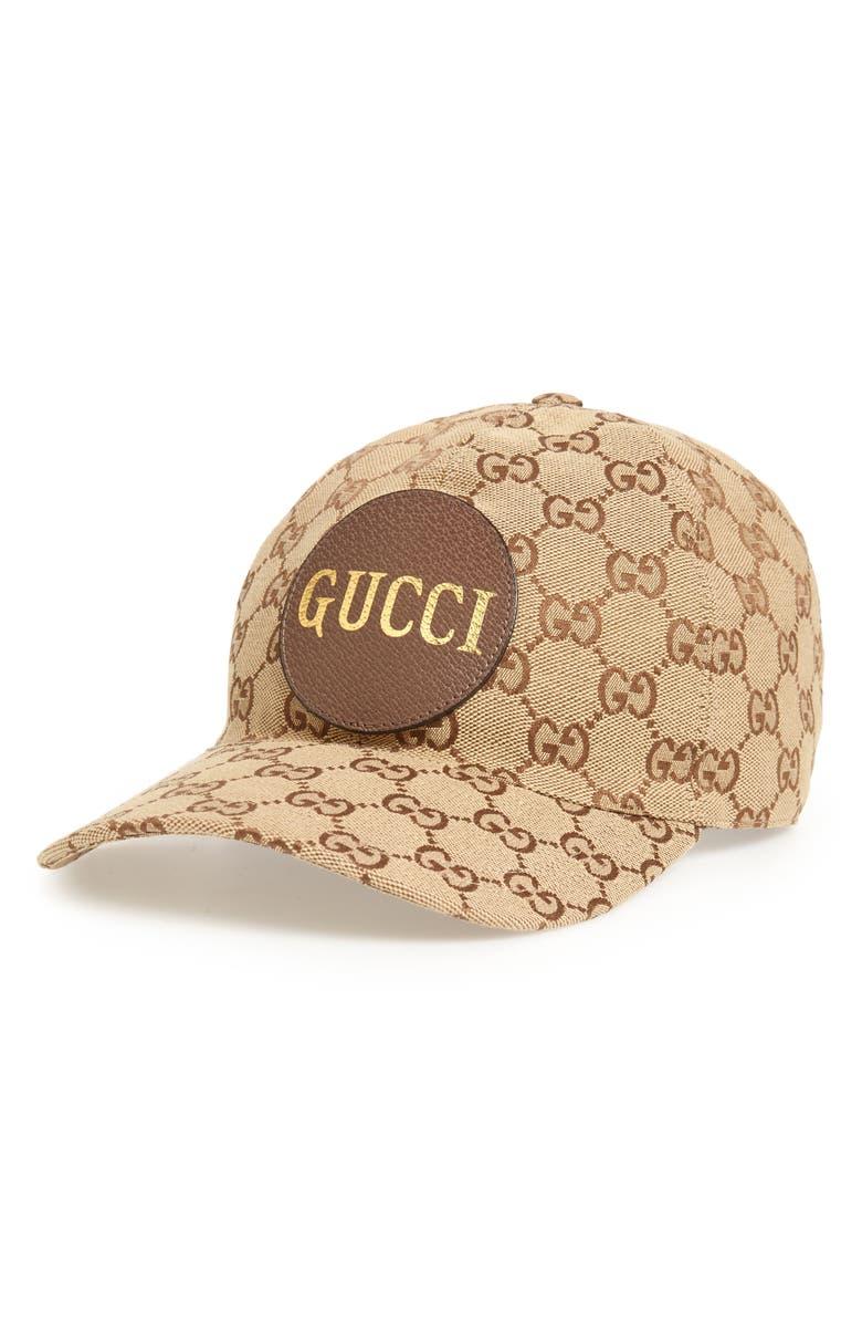 GUCCI GG Supreme Logo Canvas Baseball Cap, Main, color, CANNELLA/PANNA