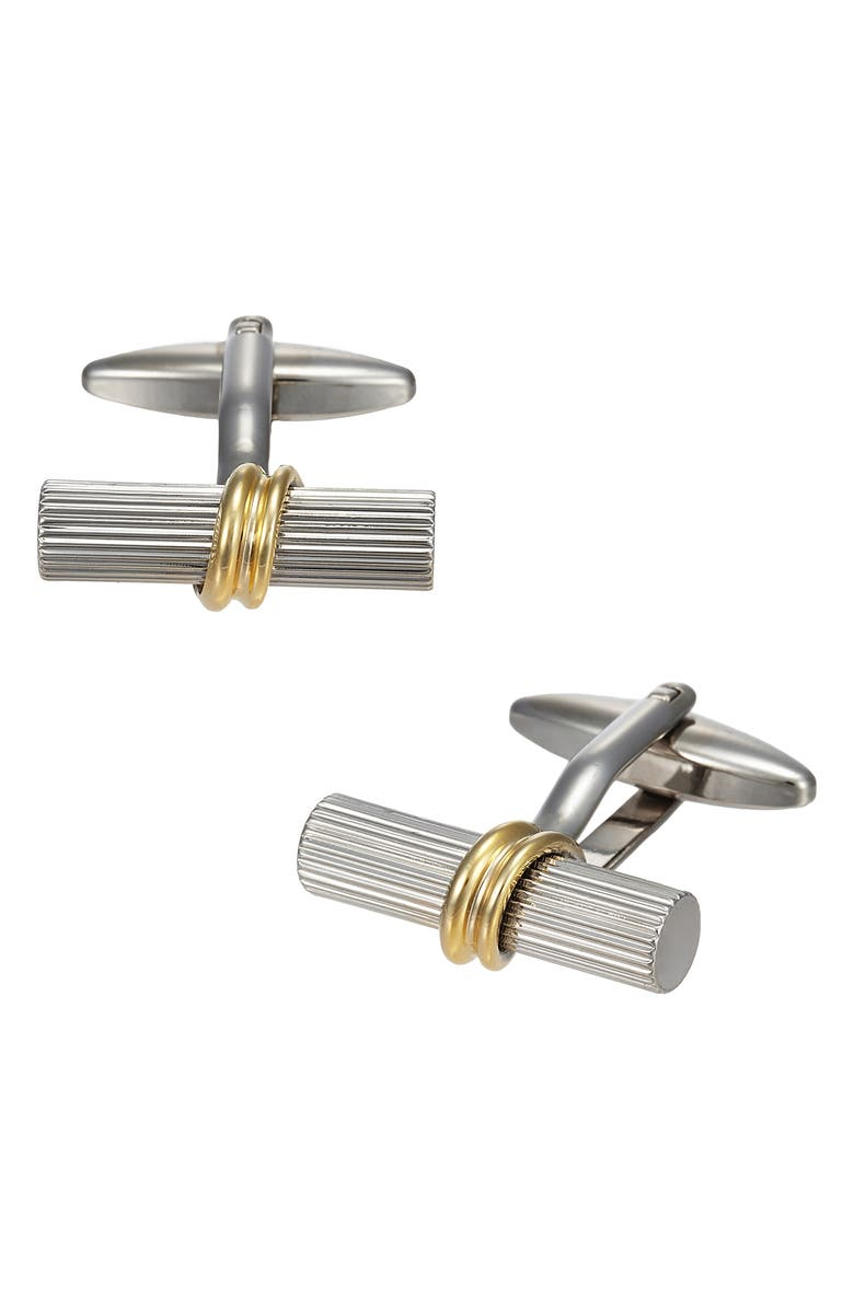 LINK UP Ribbed Two-Tone Cuff Links, Main, color, SILVER