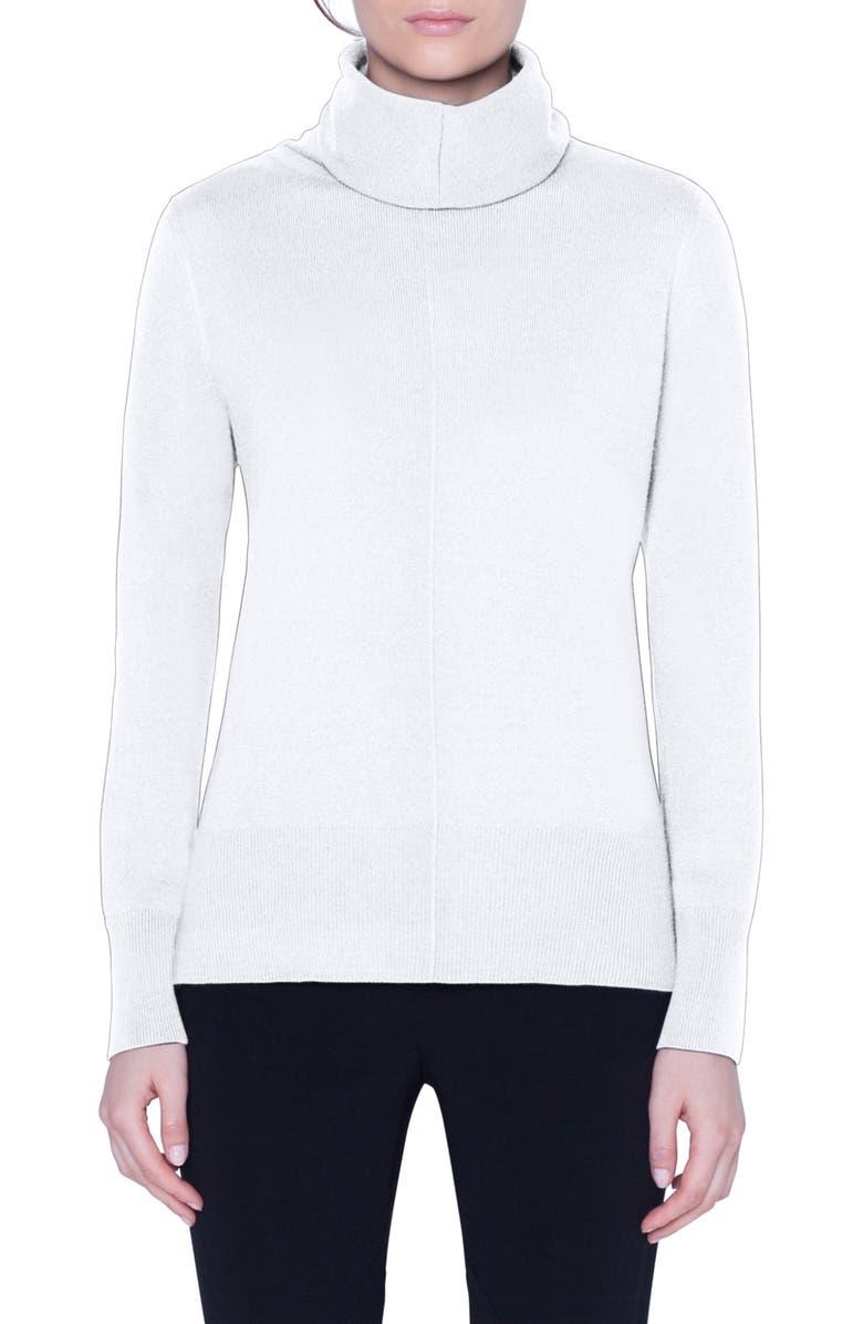 AKRIS Seam Detail Cashmere Sweater, Main, color, SWAN