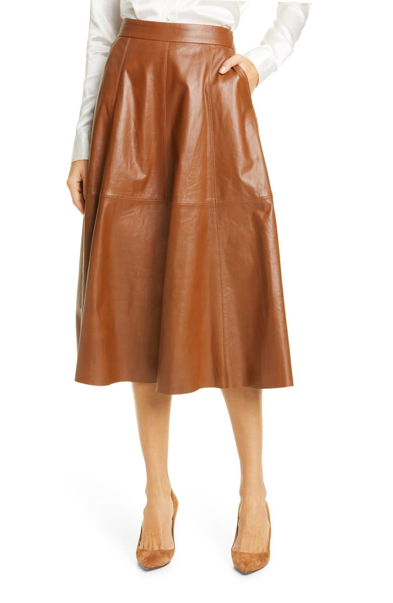 POLO RALPH LAUREN Topstitch Detail Leather Skirt, Main, color, SOFT BROWN
