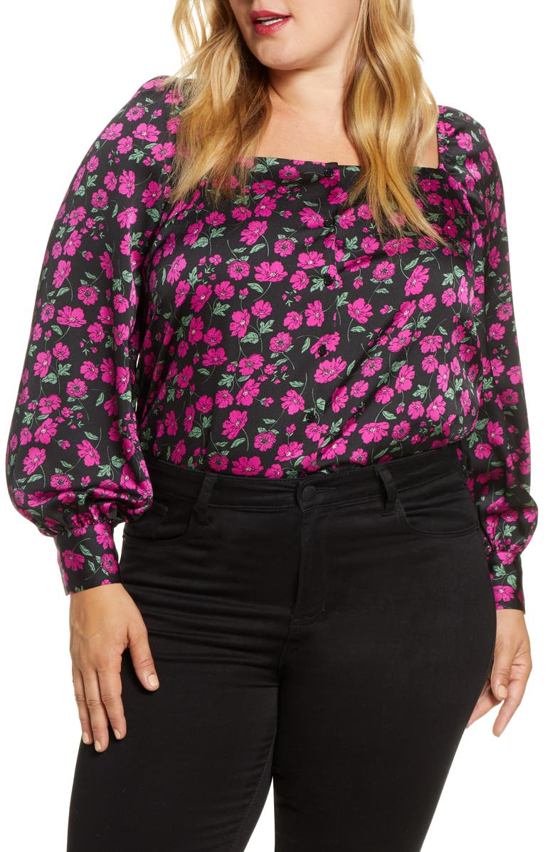 LEITH Floral Square Neck Long Sleeve Blouse, Main, color, BLACK WILDFLOWER
