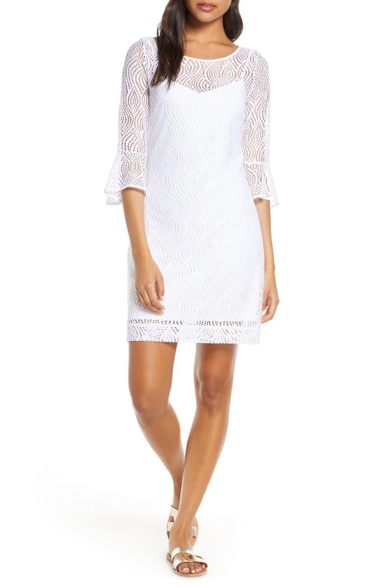 a5dea182db224d Fontaine Sheath Dress, Main, color, RESORT WHITE FLOWING LEAF LACE