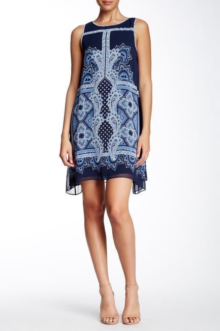 Image of Max Studio Sleeveless Sharkbite Printed Dress