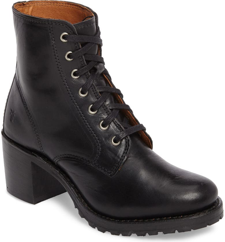 FRYE Sabrina 6G Lace-Up Boot, Main, color, BLACK