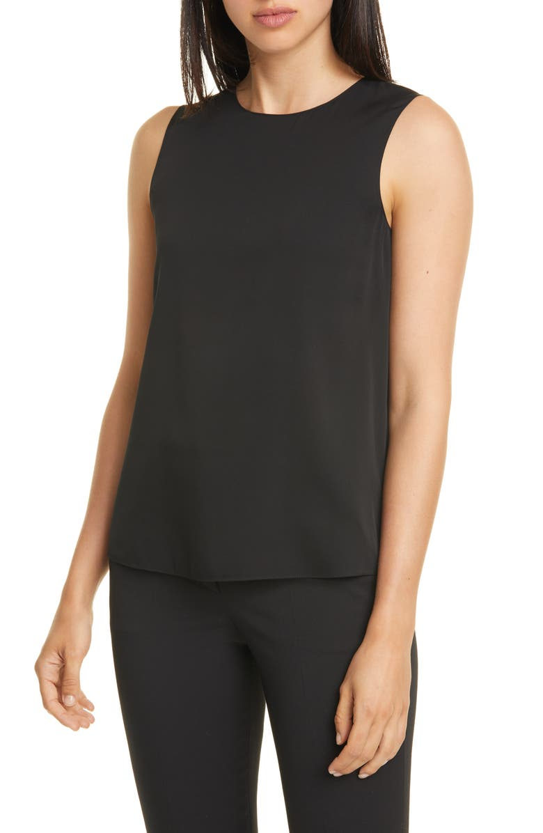 THEORY Stretch Silk Shell, Main, color, BLACK