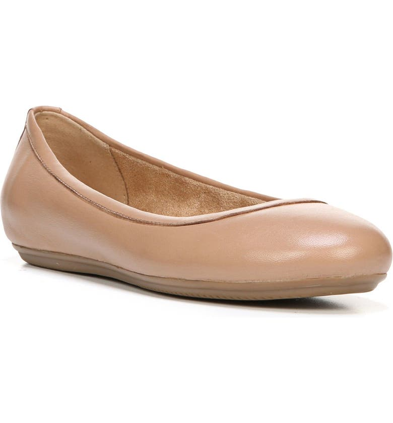 NATURALIZER Brittany Ballet Flat, Main, color, BEIGE LEATHER