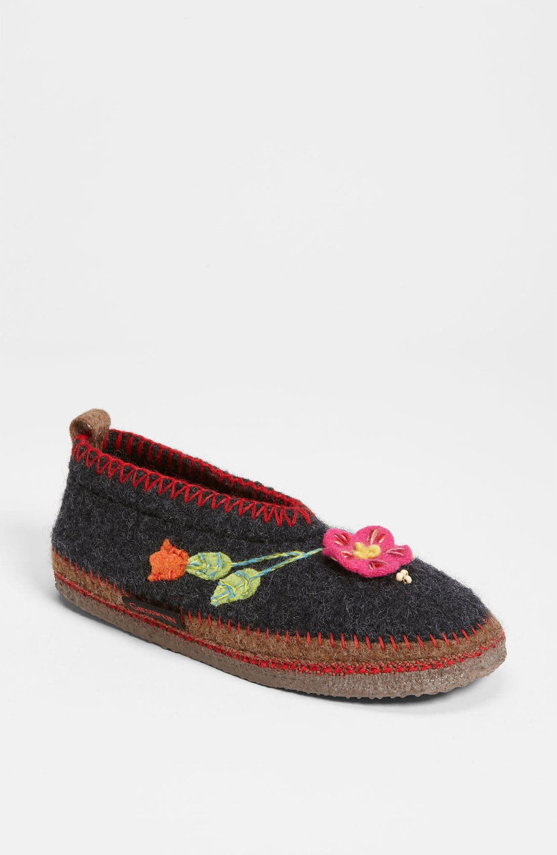 'Spital Flower' Slipper, Main, color, CHARCOAL WOOL