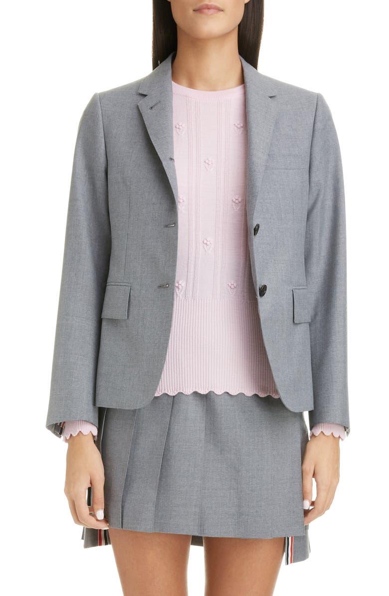 THOM BROWNE Shrunken Wool Blend Blazer, Main, color, MED GREY