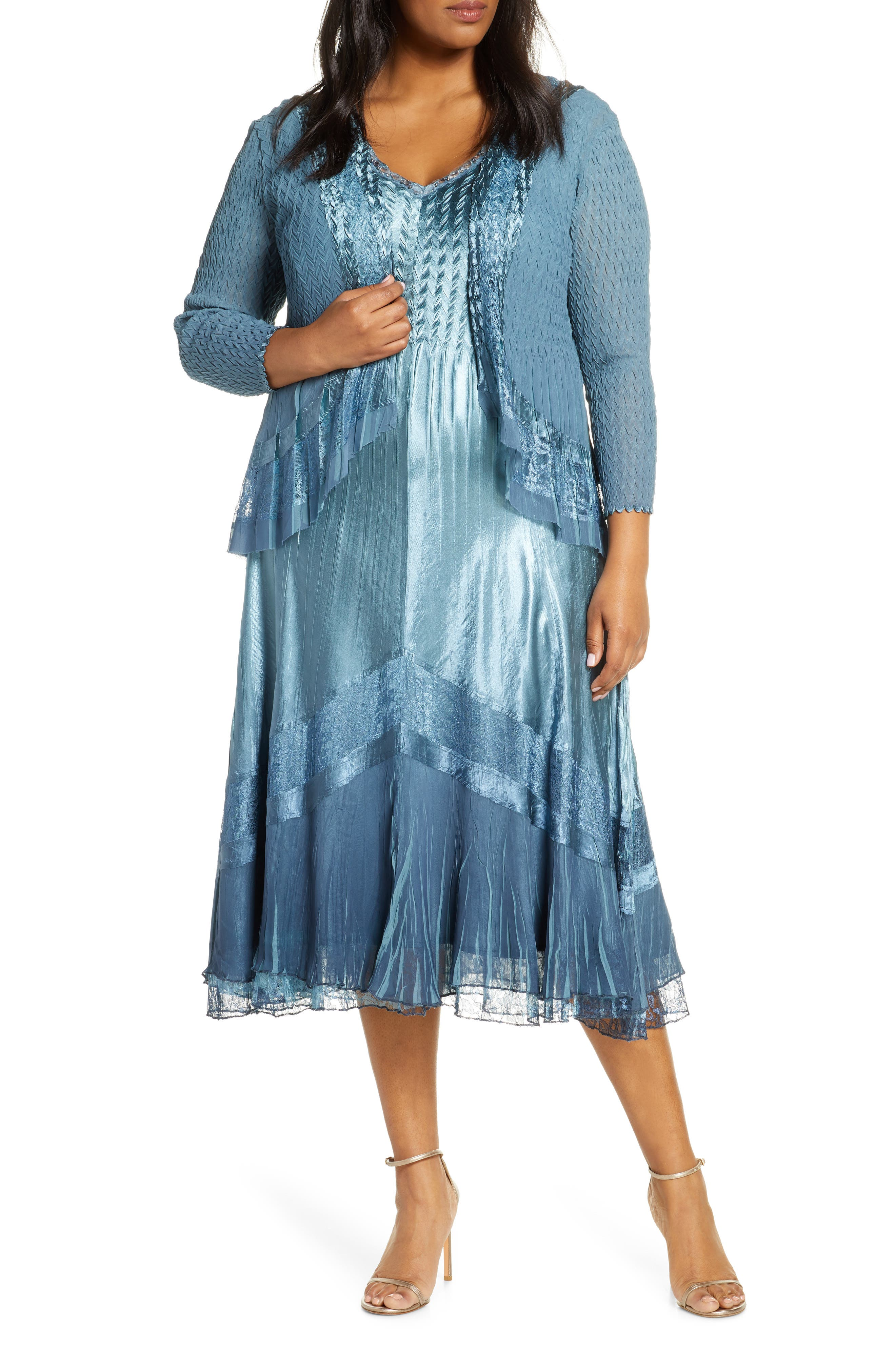 Downton Abbey Inspired Dresses Plus Size Womens Komarov Chevron Lace Inset Dress With Jacket $458.00 AT vintagedancer.com