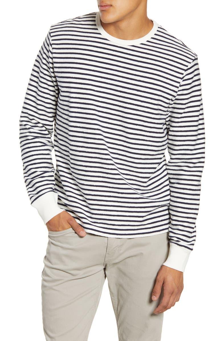 ALEX MILL Stripe Textured Terry Crewneck T-Shirt, Main, color, WHITE/ NAVY