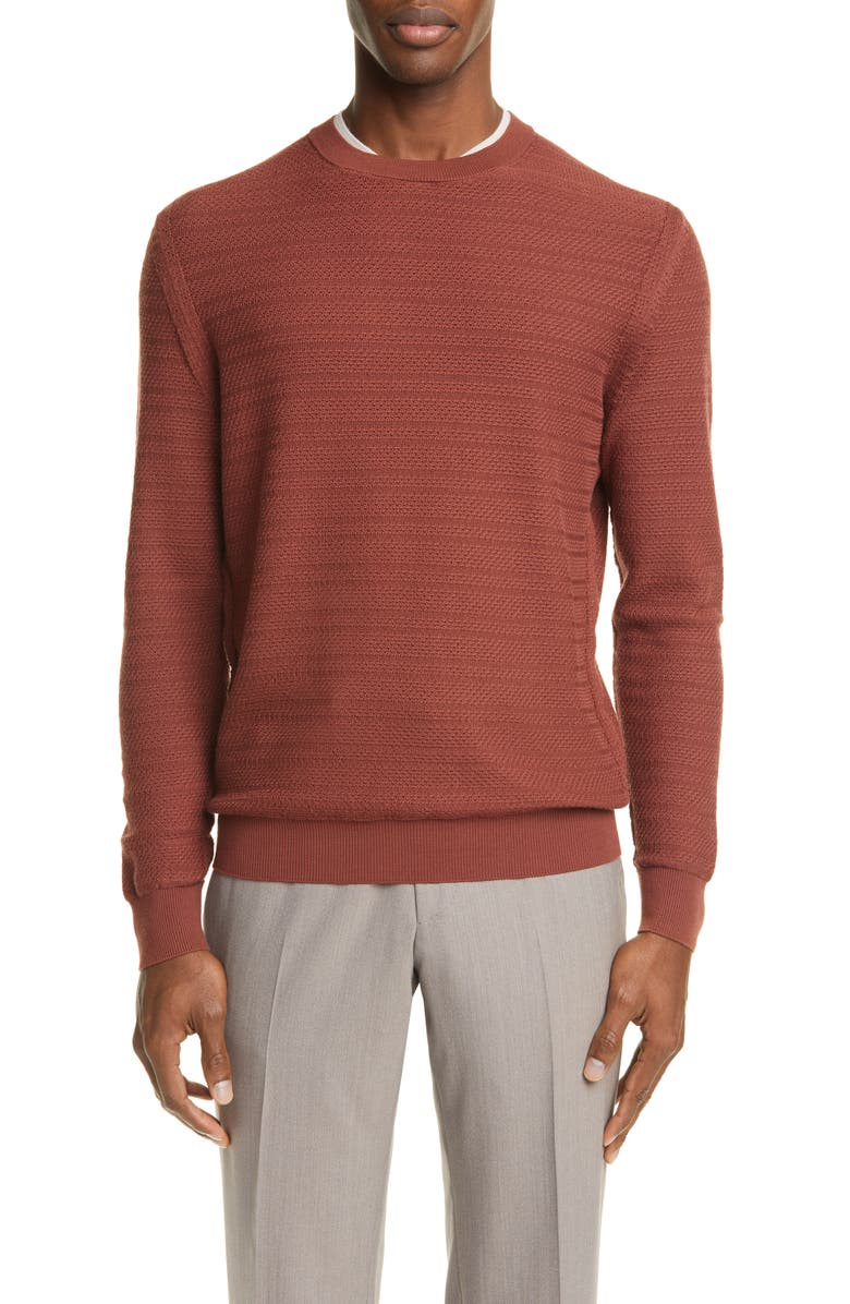 ERMENEGILDO ZEGNA High Performance Wool Crewneck Sweater, Main, color, RUST