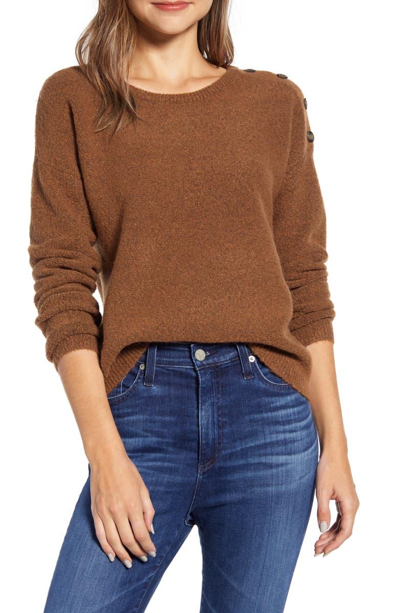 CASLON<SUP>®</SUP> Shoulder Button Sweater, Main, color, RUST BISQUE