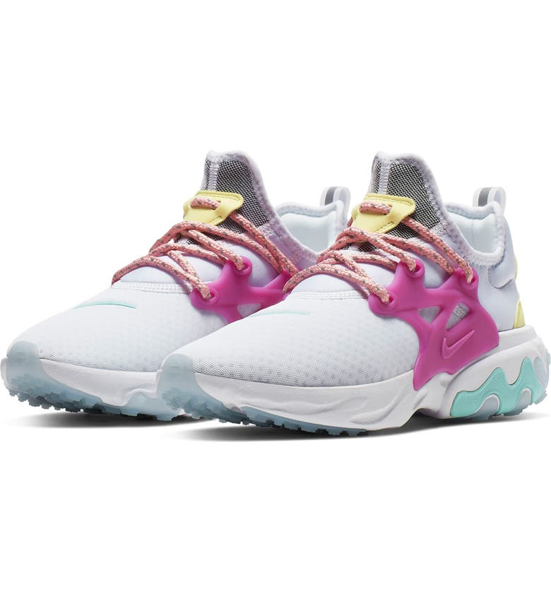 NIKE Presto React Sneaker, Main, color, WHITE/ HYPER VIOLET/ GREEN