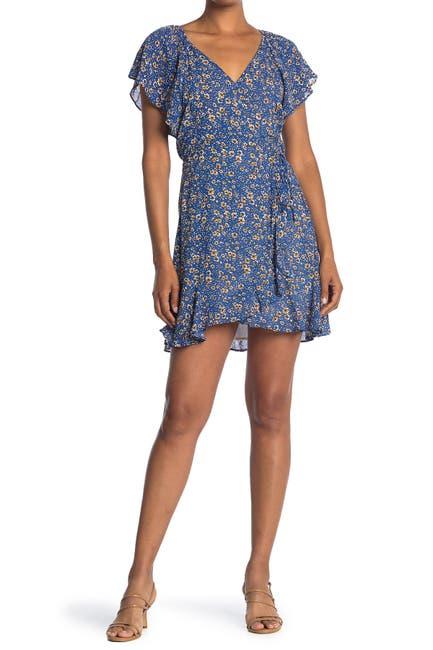 Image of Lush Floral Print Surplice Wrap Dress