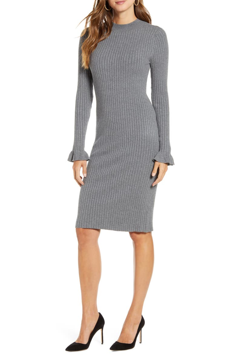 RACHEL PARCELL Rib Sweater Dress, Main, color, GREY DARK HEATHER