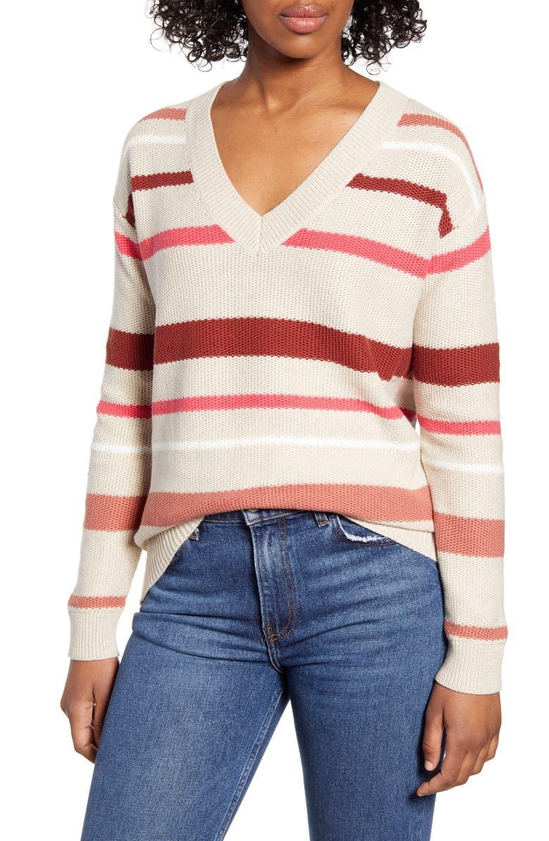 CASLON<SUP>®</SUP> V-Neck Cotton Piqué Sweater, Main, color, BEIGE- PINK PHOEBE STRIPE