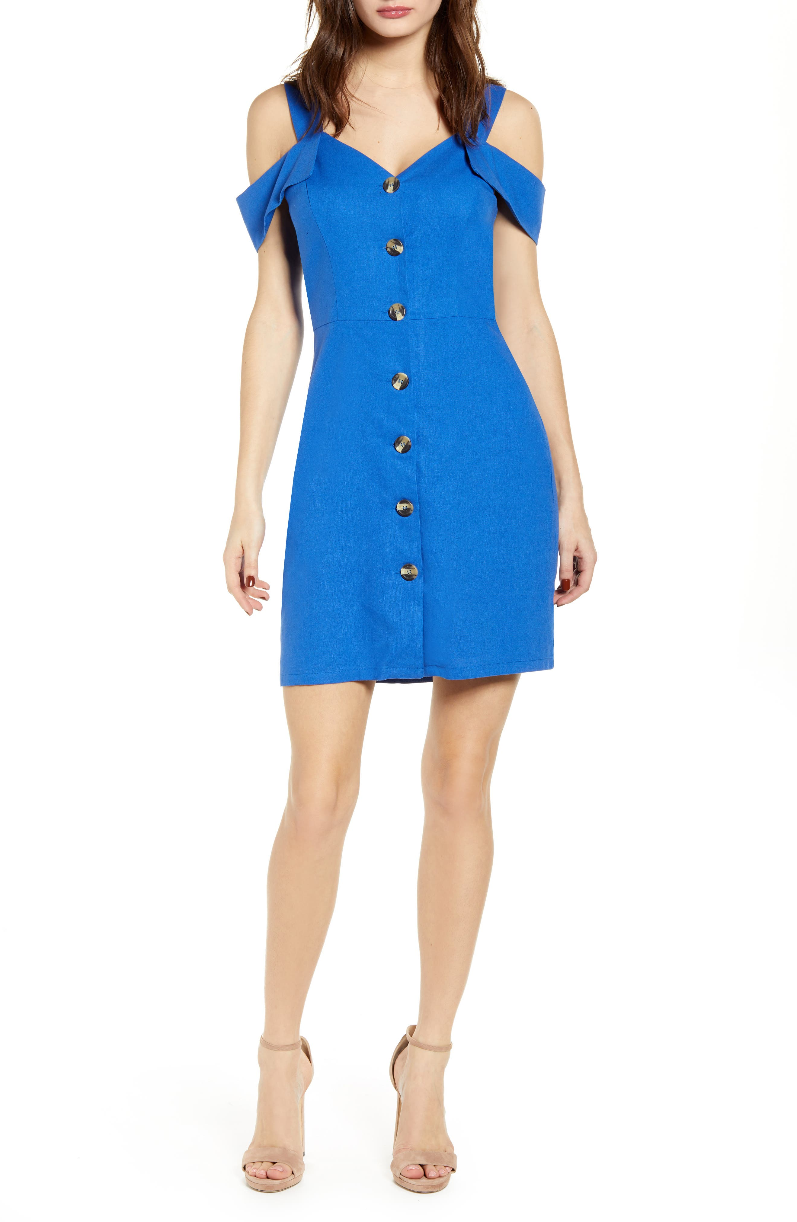 Love, Nickie Lew Cold Shoulder Button Front Dress, Blue