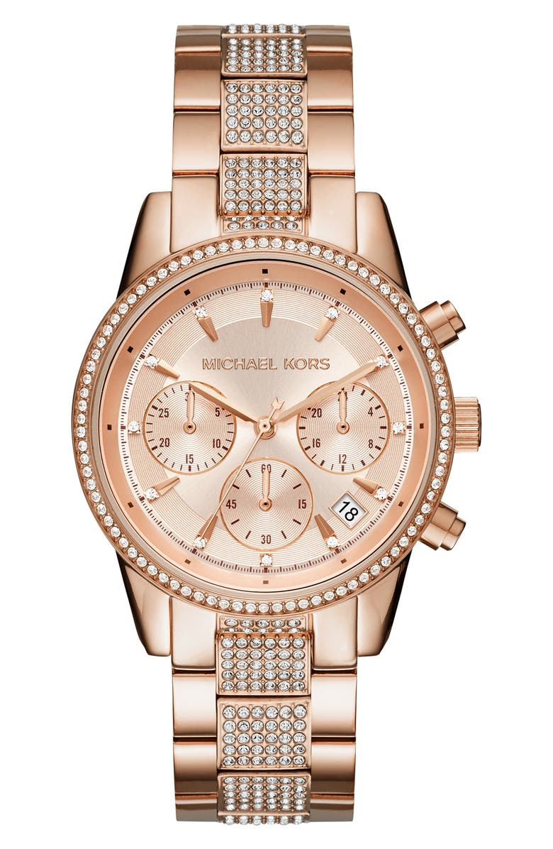 MICHAEL KORS Ritz Pavé Chronograph Bracelet Watch, 37mm, Main, color, ROSE GOLD
