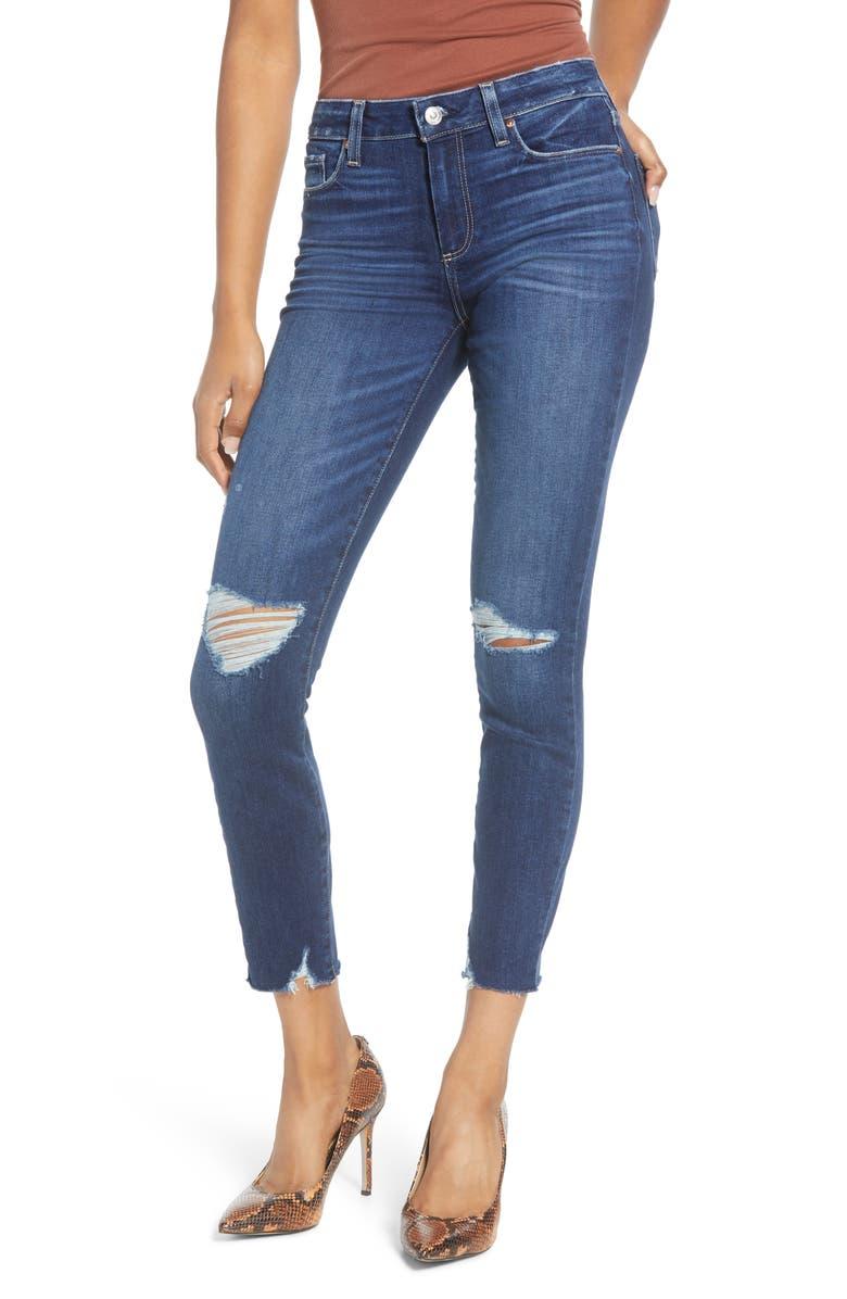 PAIGE Verdugo Rock Slide Hem Ripped & Distressed Ankle Skinny Jeans, Main, color, UPTOWN DESTRUCTED HEM