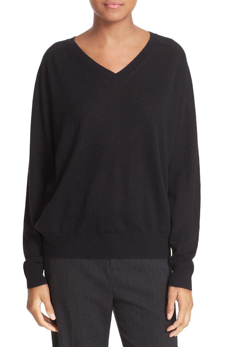 VINCE Relaxed Cashmere V-Neck Sweater, Main, color, 001