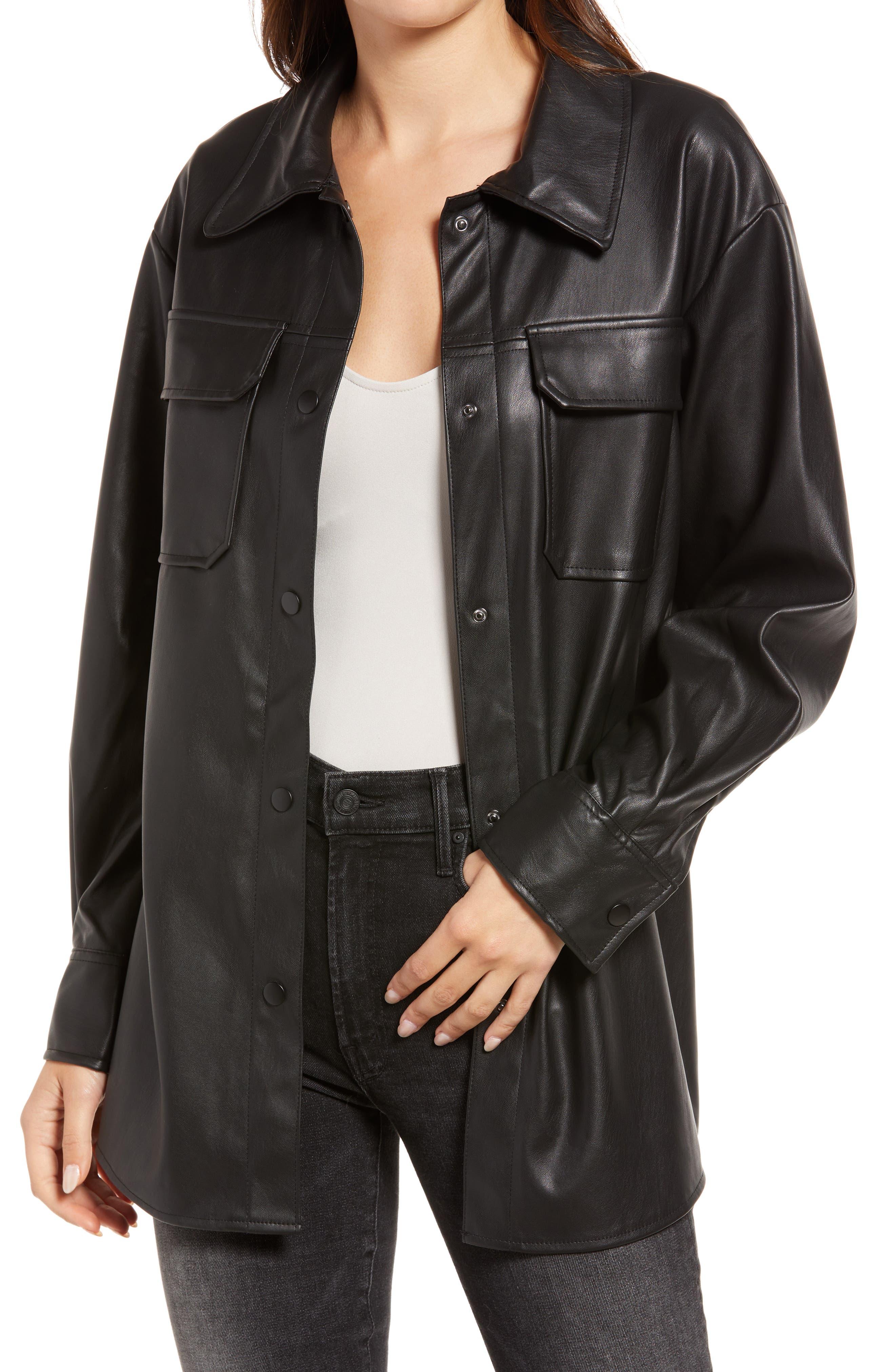 Good Measure Faux Leather Shirt Jacket