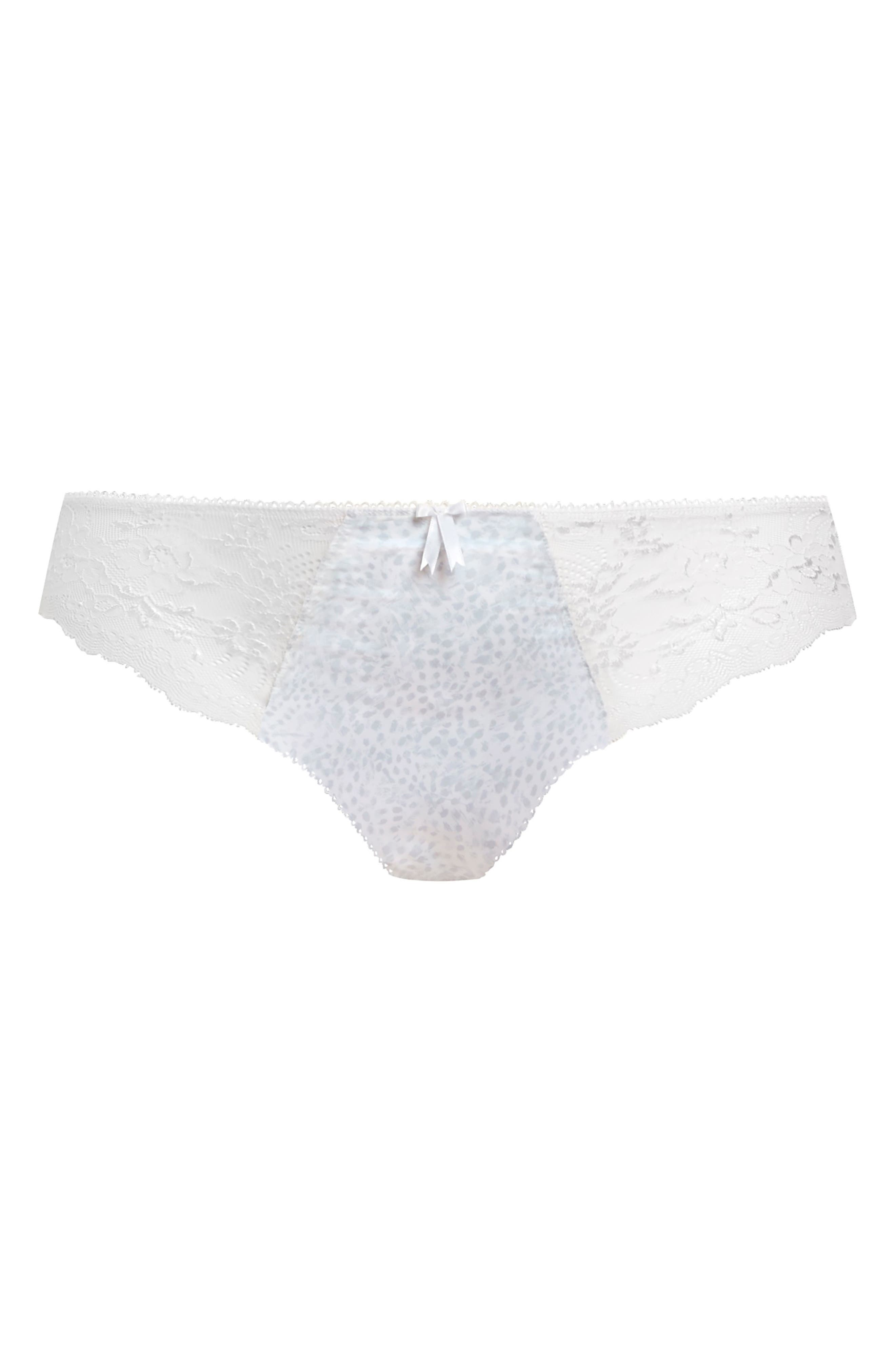 Floral lace accents the sheer sides of stretchy, mid-rise briefs patterned in animal spots and topped with a center front bow. Style Name: Elomi Morgan Briefs (Plus Size). Style Number: 5142370. Available in stores.