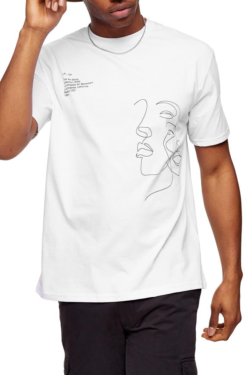TOPMAN Face Sketch Graphic T-Shirt, Main, color, WHITE